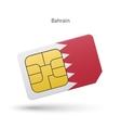 Bahrain mobile phone sim card with flag vector image