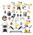 Bodybuilding Knolling Icon Set vector image vector image
