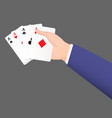 business man hand holdding a suit card vector image vector image