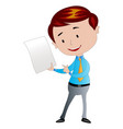 businessman holding a piece of paper vector image vector image