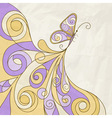 butterfly and abstract pattern crumpled paper text vector image vector image