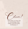cheers greeting template with gold foil sparkles vector image