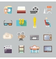 Cinema retro flat icons set vector image vector image