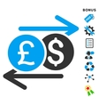Currency Exchange Flat Icon With Bonus vector image vector image