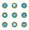 domestic sport icons set flat style vector image