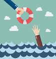 Drowning businessman getting lifebuoy from other vector image vector image