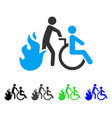 fire patient evacuation flat icon vector image vector image