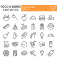 food and drink line icon set meal symbols vector image