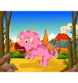 funny dinosaur cartoon in the jungle vector image