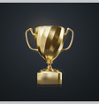 golden champion cup isolated on black background vector image