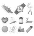 gym and training monochrome icons in set vector image vector image