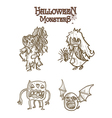 Halloween monsters scary sketch style cartoons set vector image vector image