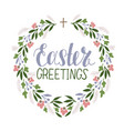 hand lettering easter greetings with flower wreath vector image vector image