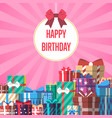 happy birthday greeting card with gift box vector image vector image
