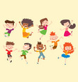 happy children kids jumping poses cute vector image