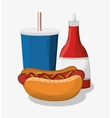 hot dog and soda of fast food concept vector image vector image