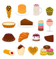 icon logo for big set sweet desserts vector image