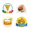 international gourmet food icons vector image vector image