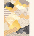 japanese pattern with abstract background gold vector image