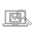 laptop with magnifying glass vector image vector image