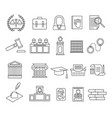 law and legal signs black thin line icon set vector image