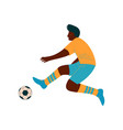 male soccer player kicking ball african american vector image