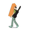 man carry nightstand icon vector image vector image