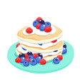 mixed berry pancake vector image vector image
