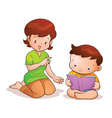 mom teaches son reading vector image vector image