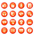multimedia internet icons set red vector image vector image