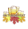Oktoberfest emblem in hand drawn sketch style vector image