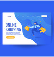 online shopping banner woman with shopping vector image vector image