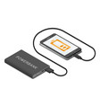 power bank connected to smartphone usb cable vector image vector image