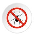 Prohibition sign spiders icon flat style vector image vector image