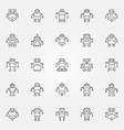 robot icons set robots concept symbols or vector image vector image