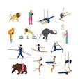 set circus artists acrobats and animals vector image