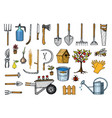 set gardening tools or items hose reel fork vector image