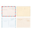 set of postcards with stamps vector image vector image