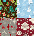set of seamless wrapping paper for Christmas gift vector image