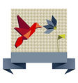 Single Origami hummingbird over textile pattern vector image