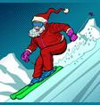 skier evening rides down mountain santa claus vector image vector image