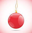 Square with red shiny christmas ball