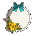 sticker circular border with floral bouquet and vector image