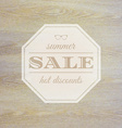 Summer Sale Label With Wooden Background vector image vector image