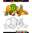 tropical fruits group for coloring book vector image vector image