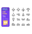 types transport line icons set vector image