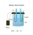water electrolysis diagram vector image vector image