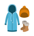 winter clothes with blue hooded sweater and yellow vector image vector image