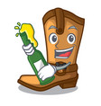 with beer leather cowboy boots shape cartoon funny vector image vector image