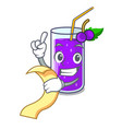 with menu grape juice in glass a mascot vector image